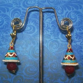 Meenakari Shanku Earring with Kundan Top (Maroon Base)
