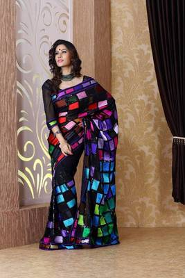 Black faux georgette saree with unstitched blouse (bmc1310)