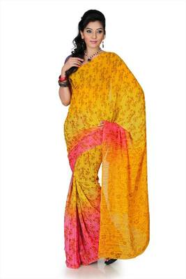 Golden yellow and pink chiffon saree with unstitched blouse (mhk1277)