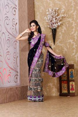Black faux georgette and cream net saree with unstitched blouse (bmc1316)