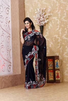 Black faux georgette saree with unstitched blouse (bmc1319)