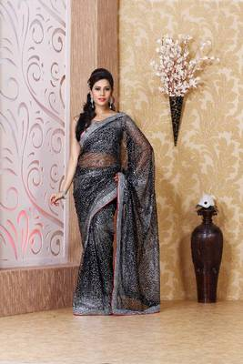Black net saree with unstitched blouse (bmc1322)
