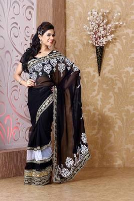 Black faux georgette saree with unstitched blouse (bmc1325)