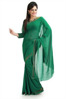 Green chiffon Jacquard saree with unstitched blouse (krs964)