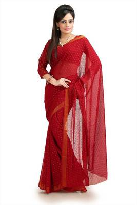 Deep red chiffon Jacquard saree with unstitched blouse (krs965)