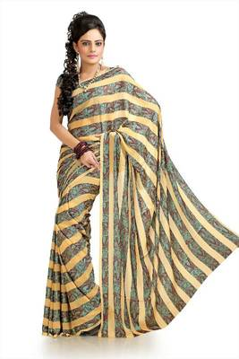 Beige chiffon jacquard saree with unstitched blouse (krs969)