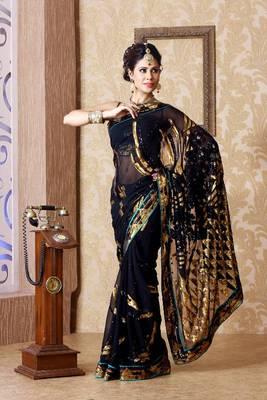 Black faux georgette saree with unstitched blouse (bmc1329)