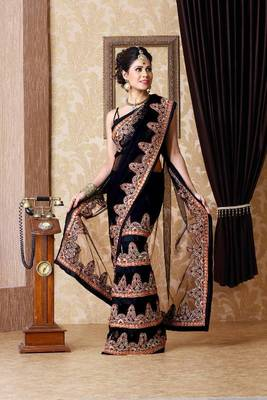 Black net saree with unstitched blouse (bmc1330)
