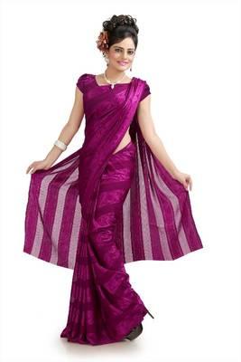 Dark magenta chiffon jacquard saree with unstitched blouse (krs979)