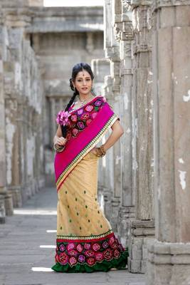 Cream net saree with unstitched blouse (bwd895)