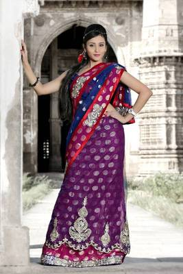 Magenta viscose and dark blue net lehenga style saree with unstitched blouse (bwd904)