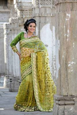 Olive green net saree with unstitched blouse (bwd907)