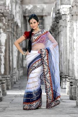 Bollywood style White and dark blue net saree with unstitched blouse (bwd908)
