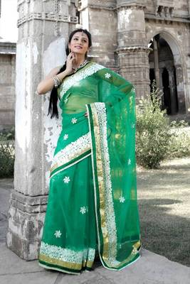 Jungle green net saree with unstitched blouse (bwd910)
