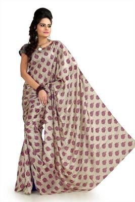 Cream khadi silk saree with unstitched blouse (flk995)