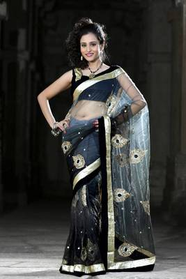 Shaded black and grey net saree with unstitched blouse (bwd922)