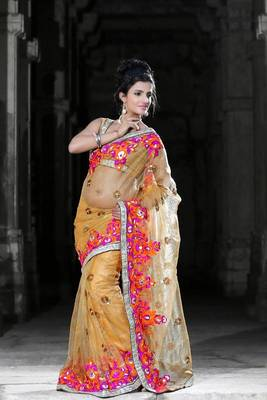 Carrot orange net saree with unstitched blouse (bwd923)