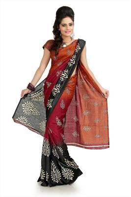 Deep orange, maroon and black silk Crepe Jacquard saree with unstitched blouse (flk998)