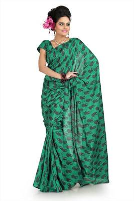 Green bhagalpuri silk saree with unstitched blouse (flk1007)