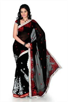 Black faux georgette saree with unstitched blouse (cnc1165)
