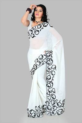 White faux georgette saree with unstitched blouse (cnc1168)