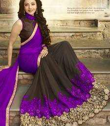 Buy purple embroidered georgette saree With Blouse eid-saree online