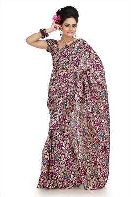 Wine and cream bhagalpuri silk saree with unstitched blouse (flk1019)