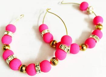 Neon Pink and golden Moti Earrings