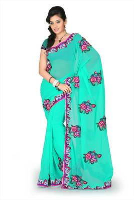 Turquoise faux georgette saree with unstitched blouse (cnc1180)