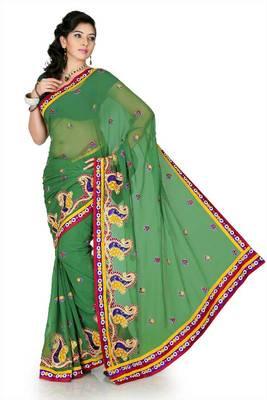 Sea green chiffon saree with unstitched blouse (cnc1188)