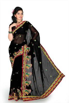 Black chiffon saree with unstitched blouse (cnc1191)