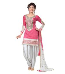 Buy Pink embroidered chanderi and cotton unstitched salwar with dupatta dress-material online