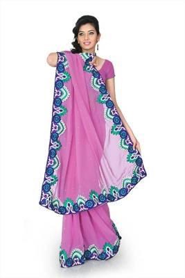 Mauve chiffon saree with unstitched blouse (cnc1200)