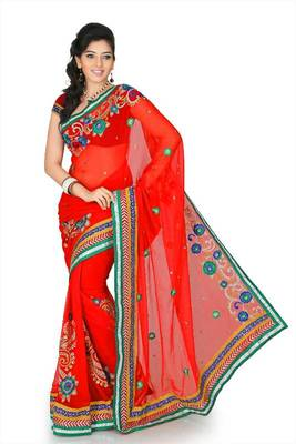 Red chiffon saree with unstitched blouse (cnc1197)