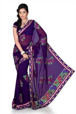 Purple chiffon saree with unstitched blouse (cnc1219)
