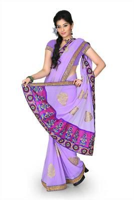 Bright lavender chiffon saree with unstitched blouse (cnc1217)