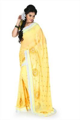 Yellow chiffon saree with unstitched blouse (cnc1215)
