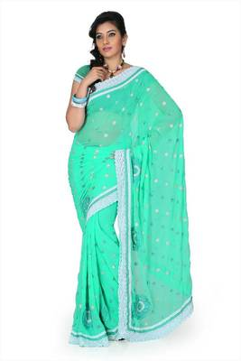 Turquoise chiffon saree with unstitched blouse (cnc1214)