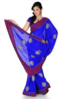 Royal blue chiffon saree with unstitched blouse (cnc1213)