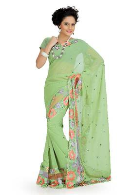 Pista green faux georgette saree with unstitched blouse (akt748)