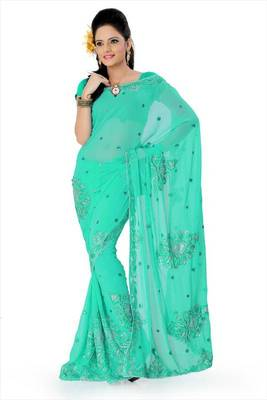 Turquoise faux georgette saree with unstitched blouse (akt768)