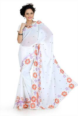 White faux georgette saree with unstitched blouse (akt752)
