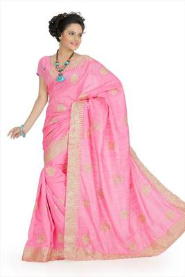 Carnation pink bhagalpuri silk saree with unstitched blouse (akt753)