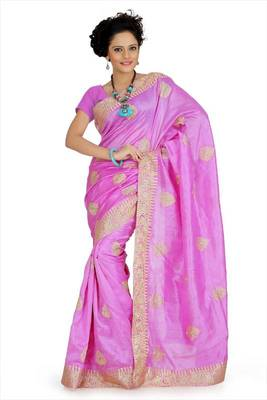 Magenta bhagalpuri silk saree with unstitched blouse (akt754)