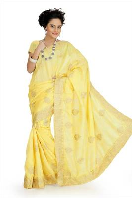 Yellow bhagalpuri silk saree with unstitched blouse (akt757)