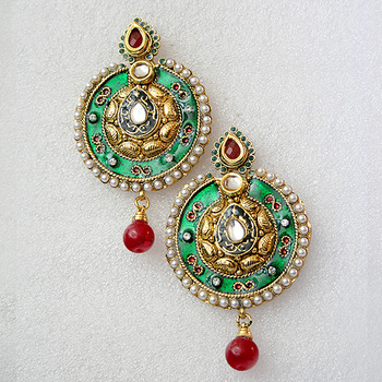Beautiful Round Green Golden Earrings