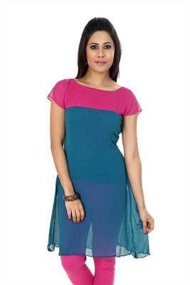 Steel blue and pink chiffon readymade kurti (k13)