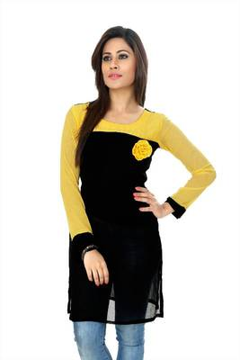 Black and yellow chiffon readymade kurti (k6)