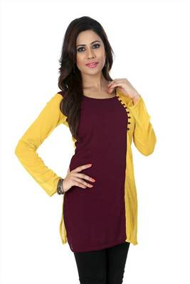 Wine and yellow chiffon readymade kurti (k9)