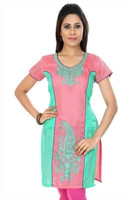 Pink and turquoise bhagalpuri silk readymade kurti (k25)